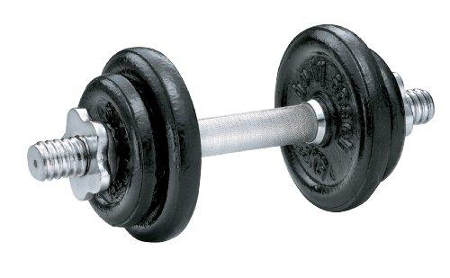 Kurzhantel-Set 10kg mit Sternverschluß Guss-Eisen Gewichte schwarz und chrome Kurzhantelstange