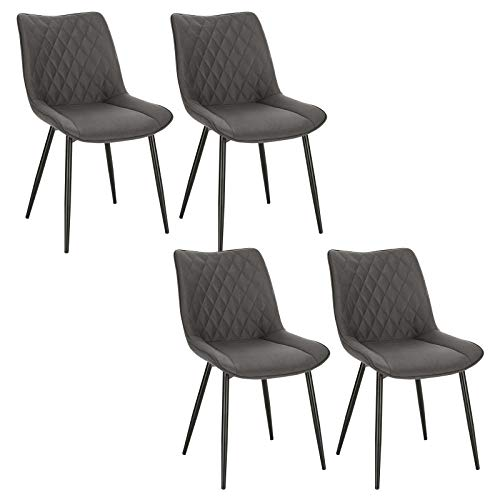WOLTU 4X Sillas de Comedor Dining Chairs Nordicas Estilo Vintage Juego de 4 Sillas de Cocina Sillas Tapizadas en Tela Silla Estructura de Metal Sillas Salon Gris Oscuro BH248dgr-4