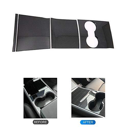 Tesla Model 3 Center Console Wrap Kit Innere Dekoration Startseite Aufkleber Schutz (Kohlefasermuster)