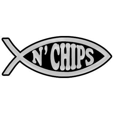 Fish 'n Chips Plastic Auto Emblem - [Silver][4 3/4'' x 1 3/4'']