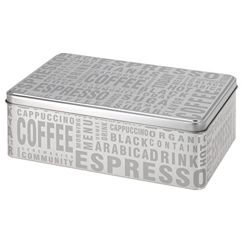 SANIFRI Keksdose Aufbewahrungsdose Gebäckdose eckig, Design Coffee, Silber (20x13x7cm)