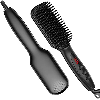 ?2020 Upgraded?Beard Straightener for Men - Ionic Beard Straightening Comb with Anti-Scald, 30s Fast Ceramic Heating, 12 Heat Levels, Auto Off, Frizz-Free, 360 Swivel Cord, for Home, Travel and Salon