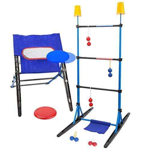 ROPODA 3-in-1 Outdoor Toss Game Set-Ladder Ball Game,Disc Toss Game,Target Toss Game Perfect for Kids and Adults,Beach, Lawn, Backyard, Camping, Tailgating and Outdoor Play