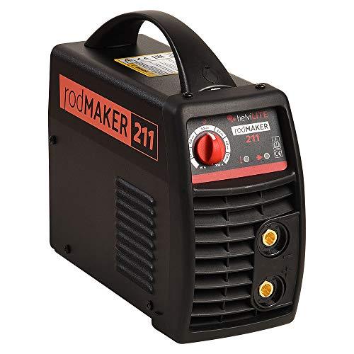 helviLITE 99805999 Saldatrice Inverter RodMaker 211 + Kit Valigetta 230V, Nero, 200 Amp