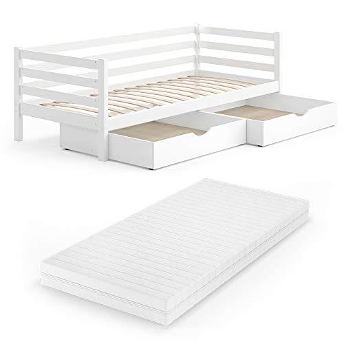 VitaliSpa Kinderbett Darcy 90x200cm Lattenrost Schubladen Jugendbett Juniorbett (Weiß, Mit Matratze und Schubladen)