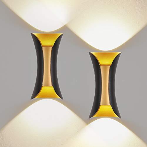 Klighten 2er Außenwandleuchte LED Wandleuchte Innen/Außen Modern Up Down IP65 10W Wandlampe aus Aluminium für Wohnzimmer Schlafzimmer Treppenhaus Flur Warmweiß 3000K, Schwarz & Gold