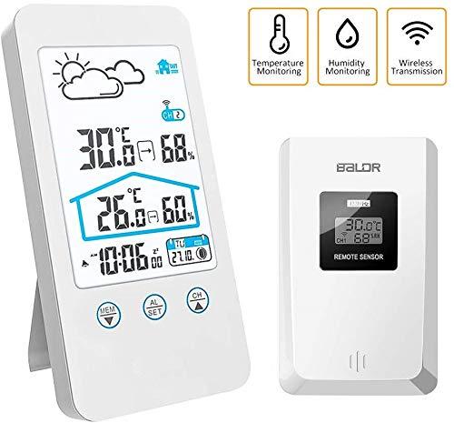 FLYLAND Wetterstation, Funk Außensensor Digitale Thermometer Hygrometer mit Temperatur, Feuchtigkeit, Wettervorhersage, Uhrzeitanzeige (Weiß)