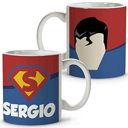 Taza Superhéroes Personalizada con Nombre. Regalo Friki. Varios Diseños y Colores Interior. Superman