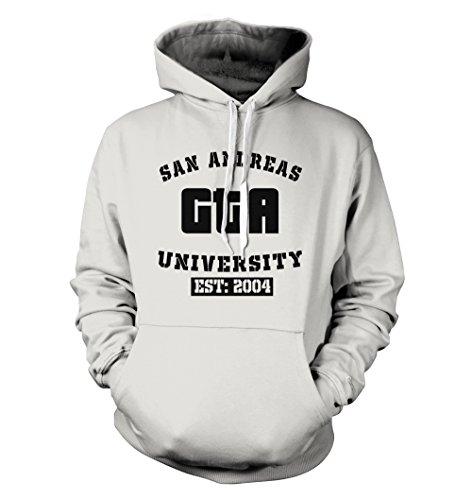 net-shirts San Andreas Hoodie Kapuzenpullover mit Aufdruck im College Style Inspired by GTA, Größe S, Weiß