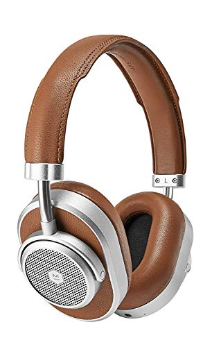 Master & Dynamic MW65 Active Noise-Cancelling (Anc) Wireless Headphones – Bluetooth Over-Ear Headphones with Mic, Silver Metal/ Brown Leather