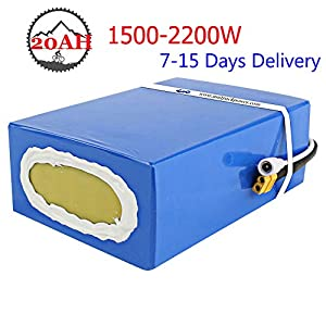 72V 20AH Ebike Battery with Charger and 40A BMS Protection, Waterproof PVC Scooter Lithium Battery Pack for 2200W 2000W 1500W Electric Bike, Scooter, Go Kart Motor
