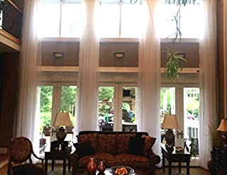 Ikiriska Extra Long Sheer Voile Curtain Panel Custom Made Length for high Ceiling 2 Story. Free Swatches (15 ft, Off White with Grommet top)