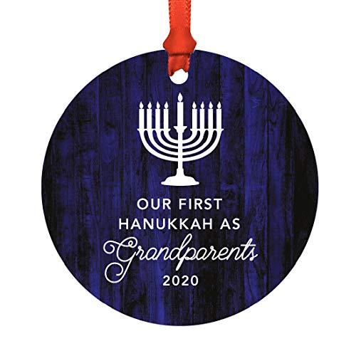Andaz Press Jewish Family Metal Hanukkah Ornament, Our First Hanukkah As Grandparents 2021, Navy Blue Menorah, 1-Pack, Includes Ribbon and Gift Bag