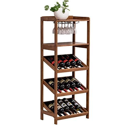 ZAQ - Botellero de pie con soporte de copa, madera para cocina, restaurante, bar, decoración de bar, 15 botellas, soporte de almacenamiento vintage