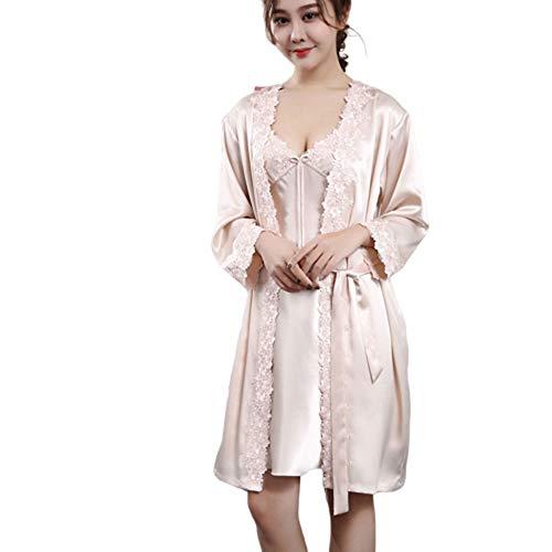 ZGY Frauen Bequeme Pyjamas, Sexy Milf gestickte Spitze-Unterhemd Morgenmantel Zweiteiliger Anzug Seide,Rosa,L