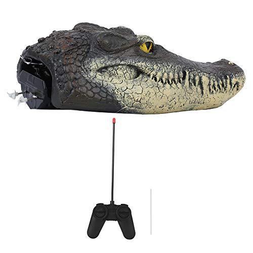 Fafeicy Künstlicher Krokodilkopf, Ferngesteuertes Vogelscheuchen Alligator RC-Boot, Elektrisches Wasserspielzeug mit Signalgeber und Signalleitungsschutzstange zur Abwehr von Kleintieren