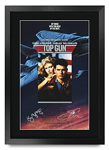 HWC Trading Top Gun Tom Cruise/Kelly Mcgillis Regalos Carteles Impresos Autógrafos Imagen Al Cine Recordaba De Fan - A3 Enmarcados