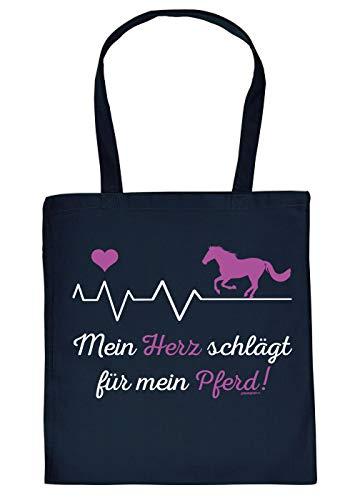 Herzaschlag Pferd Tasche - Spruch/Motiv Pferd Stofftasche : Mein Herz schlägt für Mein Pferd - Stalltasche Reitsport - Farbe : Navyblau