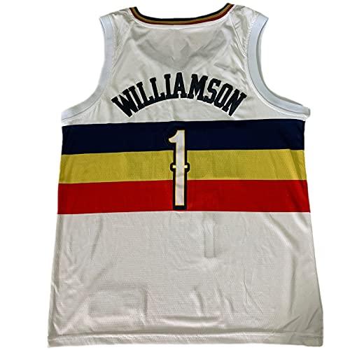QNDYDB Williams # 1 Bonus Retro Fan Jersey, Mesh Stickerei Basketball Training Uniform, Hip-Hop Atmungsaktives ärmelloses T-Shirt, Unisex White Sports Weste (S-XXL) White-XXL