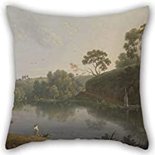 Pillow Covers of Oil Painting Thomas Wright - Landscape with A Lake and Boats 16 X 16 Inches / 40 by 40 cm Best Fit for Club Chair Kids Christmas Living Room Bedding Each Side
