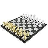 ZYCX123 Magnética Viaje Juego de ajedrez plástico Plegable de Mesa Ajedrez Puzzle Juegos de Viaje para el niño (Dorado y Plateado de) 1 Set Productos para el Hogar
