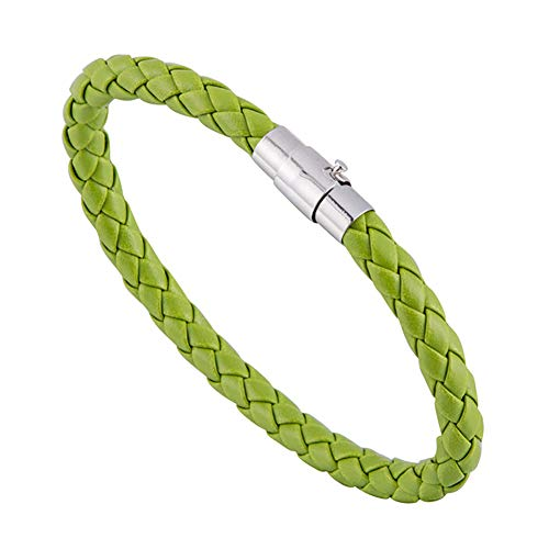 XQxiqi689sy Bracelet Bangle - Pulsera elegante de piel trenzada con muñequera y envoltura de joyas para regalo verde