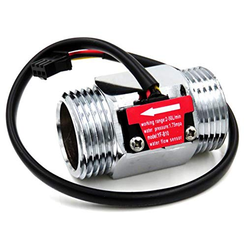 REFURBISHHOUSE B10 Dn25 1 Zoll Wasser Halleffekt Turbine Durchflusssensor Meter Turbine Durchflussmesser 2-50L / Min (Silber)