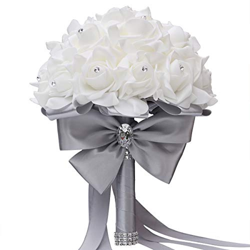 Bridal Bouquet for Brides or Bridesmaids Wedding Hand Bouquet Artificial Fake Flowers (Plain Silver)