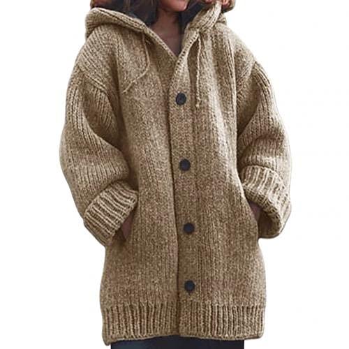 Mujer Grueso Suéter Abrigo de Punto Caliente Ropa de Abrigo Otoño Invierno Larga con Capucha Cardigan Ropa de Mujer Ropa de Santiago Mujer Véase 2021 (Color: Caqui, Talla : 2XL)