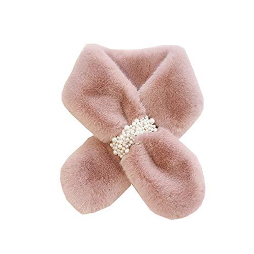 GFBVC Bufanda De Invierno Peluche Bib Femenino Invierno Caliente All-Match Pearl Multicolor Cross Bufanda Lindo Cuello Fluffy Calentar (Color : Pink, Size : One Size)