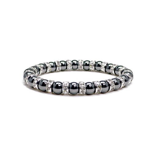 Accents Kingdom Women's Magnetic Hematite Tuchi Simulated Pearl Bracelet with Crystal, 7.5'