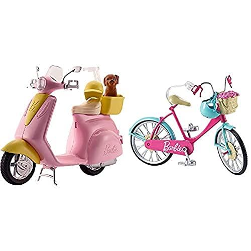 Barbie Accesorios Moto De , Regalo para Niñas Y Niños 3 9 Años (Mattel Frp56) + Bicicleta, Accesorios Muñeca (Mattel Dvx55)
