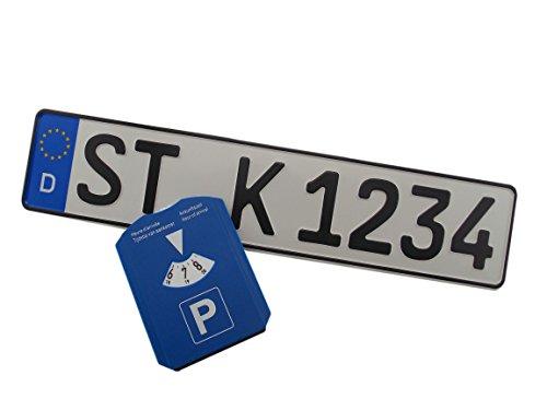 1 DIN-zertifiziertes Kfz-Kennzeichen in der Standard-Größe 520x110 mm inklusive Parkscheibe passend für alle deutschen Fahrzeuge