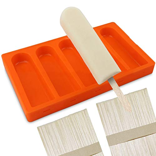 Silicone Popsicle Molds BPA Free, Ice Pop Molds Popsicle Maker with Seal Lid and 100 Popsicle Wood Sticks, (5 Cavities)