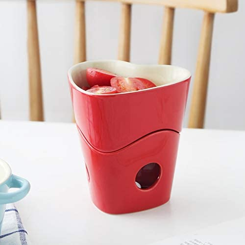 Chocolat en céramique à fondue au fromage Pot en céramique avec DEBOUT et Three Forks Fondue au chocolat Home Cooking for Utility (Color : Blue) Red