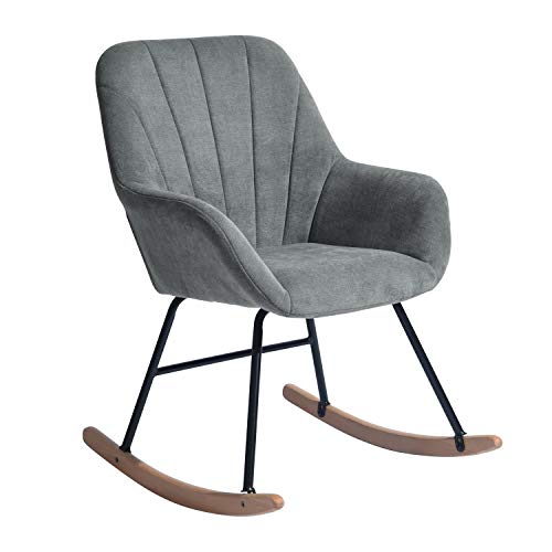 HOMYCASA Stoff Schaukelstuhl Sessel Modern Stuhl Relaxing Freizeit Loungesessel Ergonomisches Design mit Massivholzbeinen für Wohnzimmer (grauer Stoff)