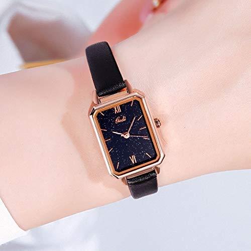 ZWH Aliexpress Hot con Estilo Vintage Cuadrado Relojes Impermeables for Mujer Estudiante Coreano Piedra Salvaje Salvaje al por Mayor Fabricante (Color : Black)