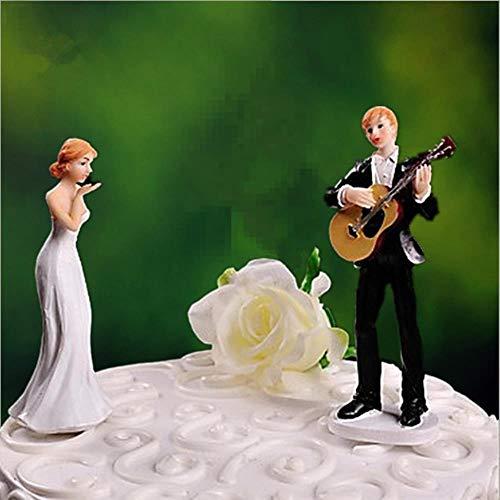 Liefde Serenade Gitaar Spelen Groom Bruiloft Cake Topper bruid en bruidegom taart topper beeldjes met