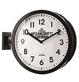 INTERFORM INC. インターフォルム 両面時計 インダストリアル ブラック CL-2138 Robestonロベストン W44×H38×D13cm 掛け時計 時計 おしゃれ お洒落 かわいい インテリア スイープムーブメント 壁時計 壁掛け時計