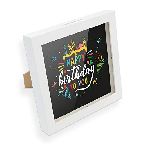itenga Spardose I Geldgeschenk I Happy Birthday to You I Gutschein I Bilderrahmen zum Befüllen I Geschenkverpackung I inkl. Einleger zum Dekorieren