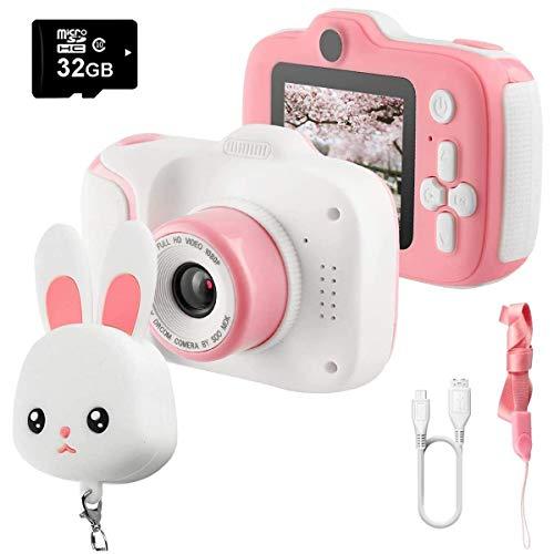 ZHBD Cámara para niños 1080p HD Dual Lens, grabadora de Video de Pantalla HD de 2', cámaras Digitales para niños (32 GB de Tarjeta SD), Regalo de cumpleaños de 3 a 10 años de año para niños.