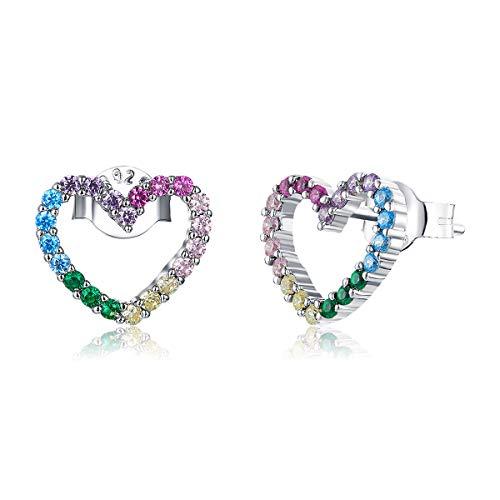 Orecchini a bottone a forma di cuore per donna Orecchini in argento sterling 925 con zirconi cubici colorati piccoli orecchini ipoallergenici per ragazze