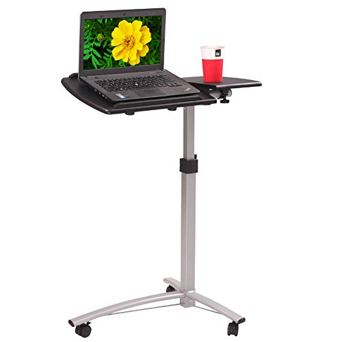 NioEsho Mobile Laptop Standing Desk, Adjustable Height Laptop Desk Cart Ergonomic Home Office Stand Rolling Side Table for Offices, Home, Medical and School (Black)