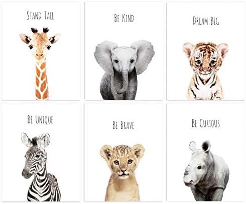 Set of Baby Animal Nursery Prints 8 x10 UNFRAMED Nursery Decor SAFARI ANIMALS with Quotes product image