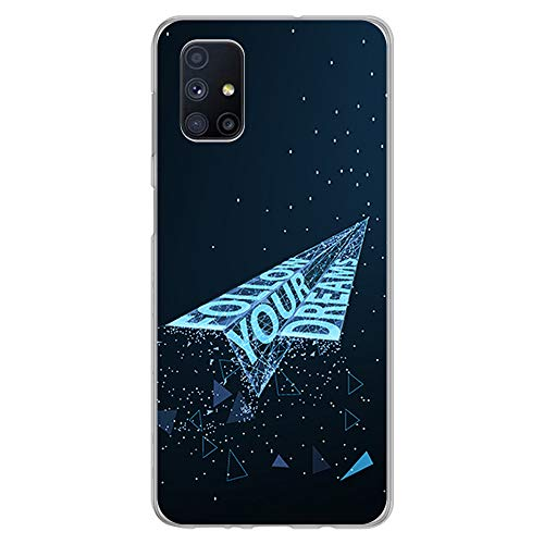 BJJ SHOP Funda Transparente para [ Samsung Galaxy M51 ], Carcasa de Silicona Flexible TPU, diseño : Avion de Papel futuristico Follow Your Dreams