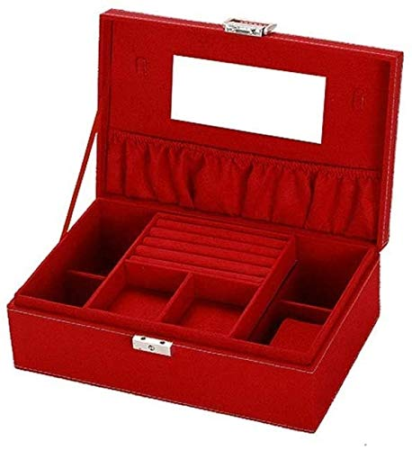 NANI Viajes Joyero Organizador pequeña, los niños, Las niñas, la Caja de joyería for Las Mujeres, Anillos, Pendientes, Organizador de la joyería Collar de Cajas de Almacenamiento (Color : Red)