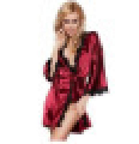 CHBY Conjuntos de lencería erótica para Mujer Monos de Mujer Albornoz de Mujer Sexy Borde de Encaje Pijamas Sexy Lencería Sexy Conjunto de Varias Piezas-Vino Rojo_L