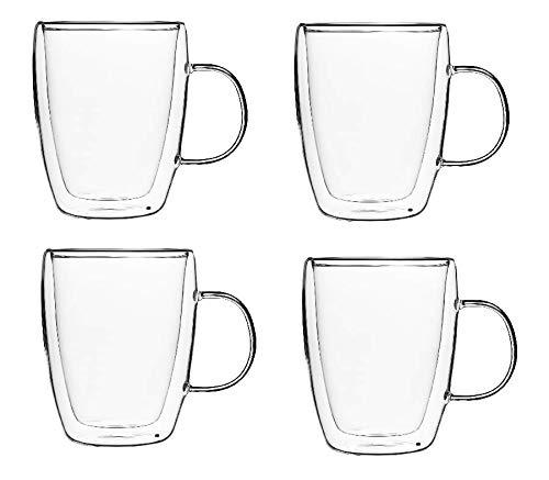 KADAX doppelwandige Glas Tasse, Glas mit Griff, 270ml, Trinkglas für Saft, Tee, Kaffee, Drink, Wasser, Eistee, Cappuccino, Universalglas, Teeglas, hochwertige Qualität (4)