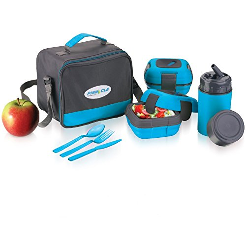 Lunch Box Bag Set for Adults and Kids ~ Pinnacle Insulated Leakproof Thermal Lunch Kit Lunch Bag Thermo Bottle 2 Lunch Containers with New Heat Release Valve Matching Cutlery - Blue