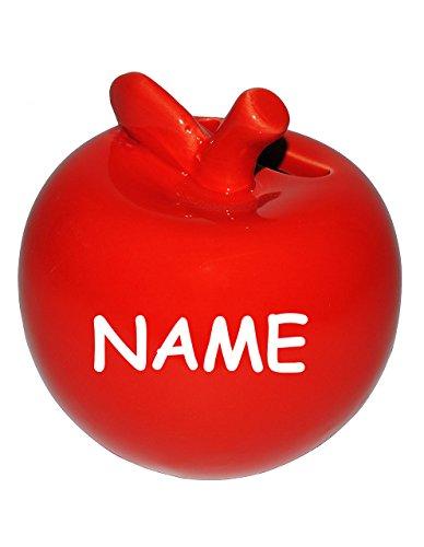 alles-meine.de GmbH Apfel  - große Spardose - incl. Name - Sparschwein - lustig witzig - stabile Sparbüchse aus Porzellan / Keramik - Bunte Äpfel - Reisekasse / Kinder Mädchen..